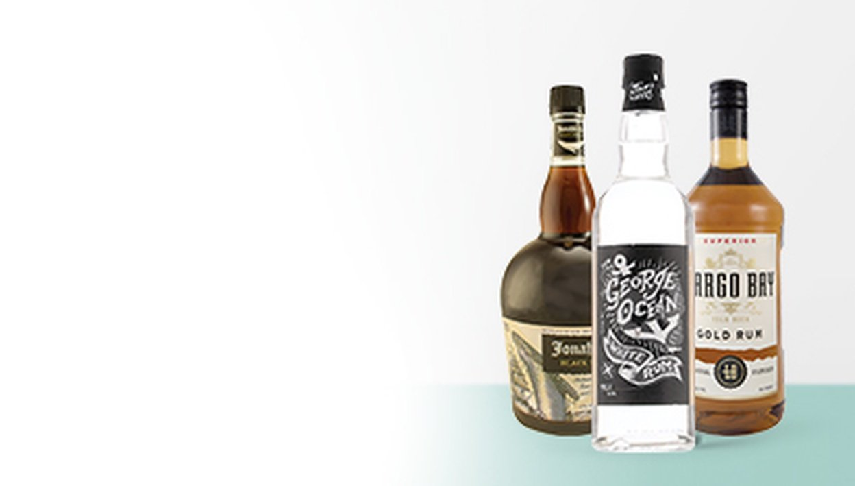 Jonah's Curse Black Spiced Rum, George Ocean White Rum, Largo Bay Gold Rum