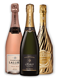 Lallier Grand Rose, Mailly Brut Reserve Grand Cru, and Tsarine Cuvee Adriana.