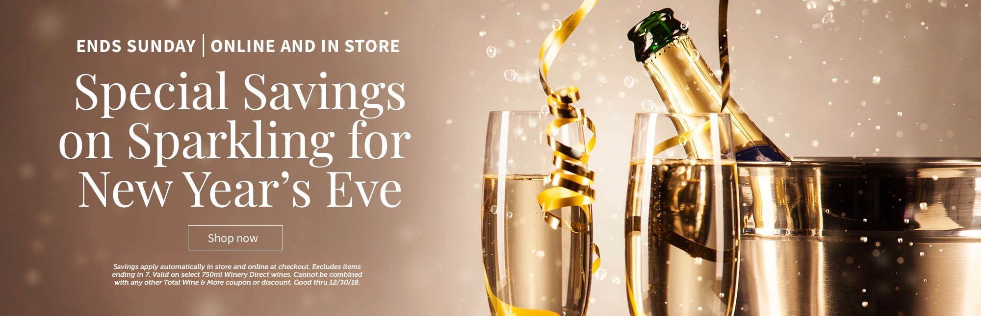 special savings on sparkling wine for new years eve through sunday 1230 savings