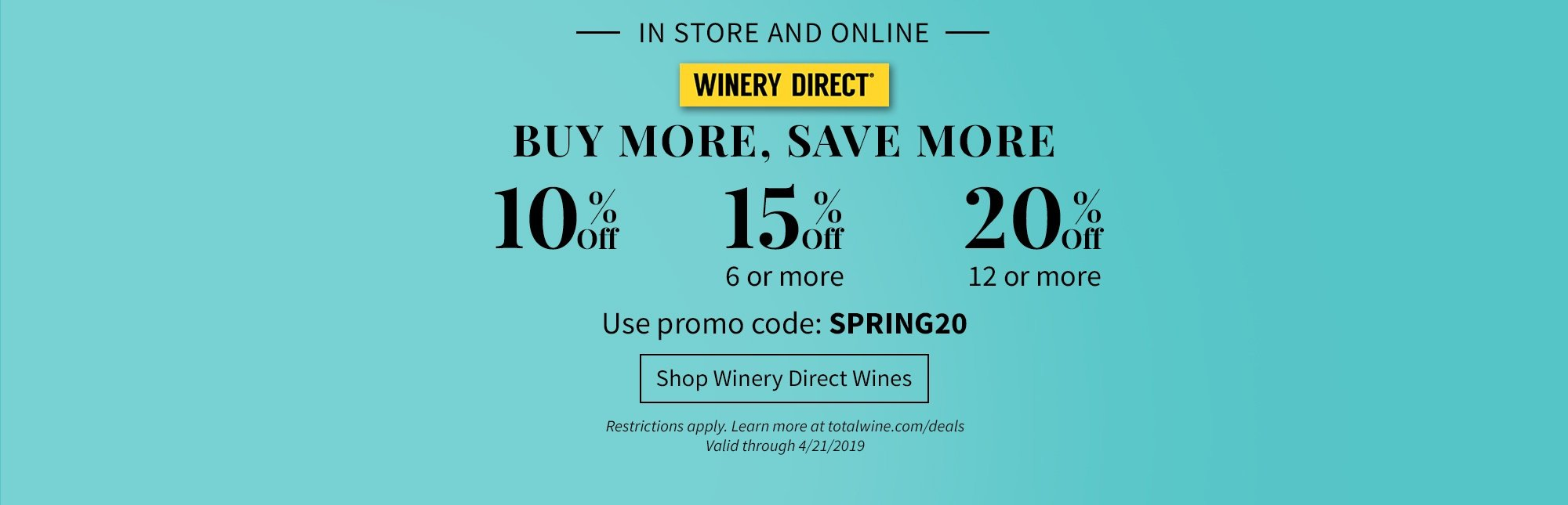 b6e5a77e45 Shop Winery Direct Wines. In store and online. Buy more